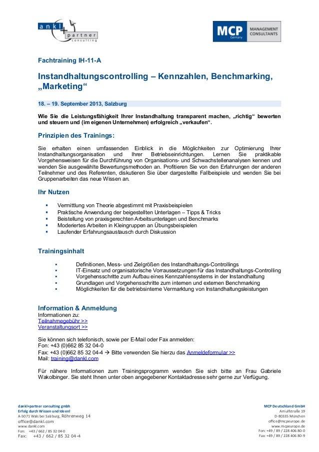 """Fachtraining IH-11-A          Instandhaltungscontrolling – Kennzahlen, Benchmarking,          """"Marketing""""          18. – 1..."""