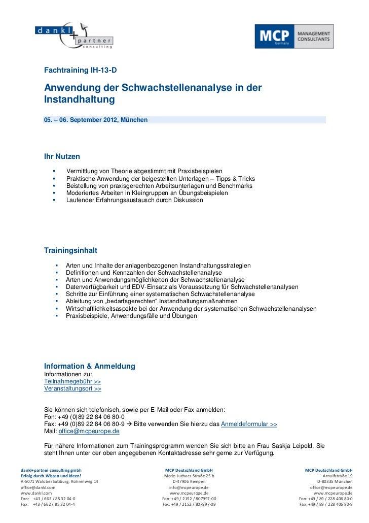 Fachtraining IH-13-D           Anwendung der Schwachstellenanalyse in der           Instandhaltung           05. – 06. Sep...