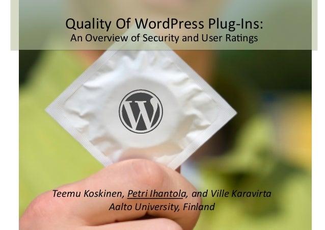 Teemu  Koskinen,  Petri  Ihantola,  and  Ville  Karavirta   Aalto  University,  Finland   Quality  O...