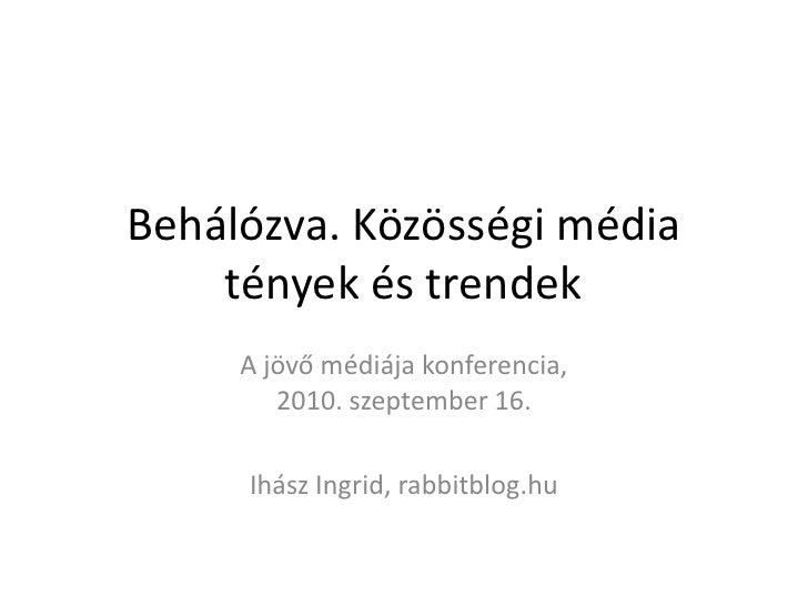 Behálózva. Közösségi média tények és trendek<br />A jövő médiája konferencia,2010. szeptember 16.<br />Ihász Ingrid, rabbi...