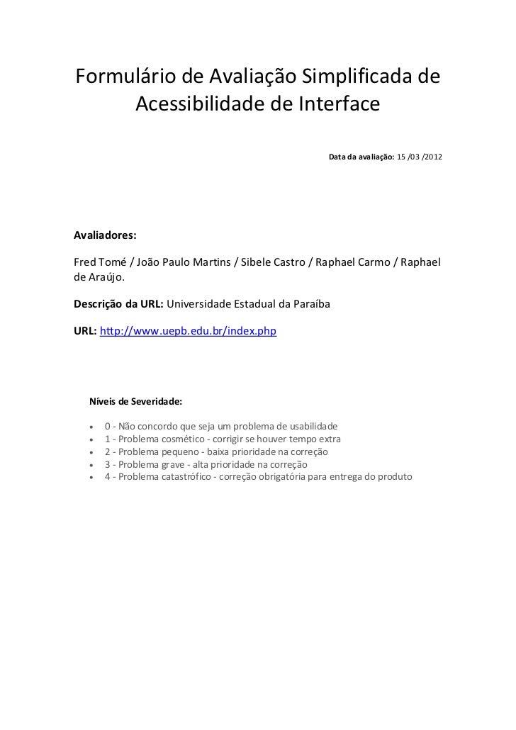 Formulário de Avaliação Simplificada de     Acessibilidade de Interface                                                   ...