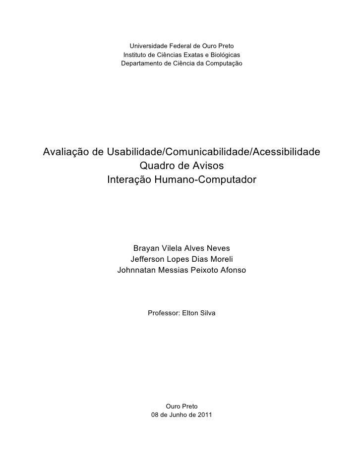 Universidade Federal de Ouro Preto               Instituto de Ciências Exatas e Biológicas               Departamento de C...