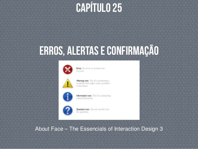 Capítulo 25 About Face – The Essencials of Interaction Design 3 Erros, Alertas e Confirmação