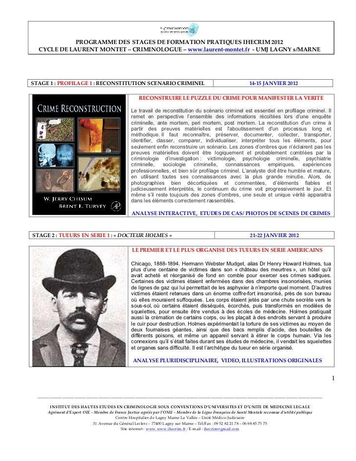 PROGRAMME DES STAGES DE FORMATION PRATIQUES IHECRIM 2012          CYCLE DE LAURENT MONTE...