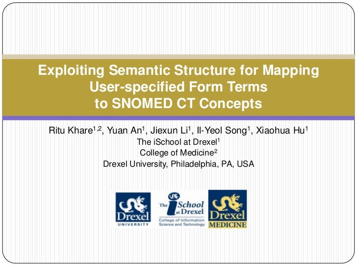 Exploiting Semantic Structure for Mapping        User-specified Form Terms         to SNOMED CT Concepts Ritu Khare1,2, Yu...