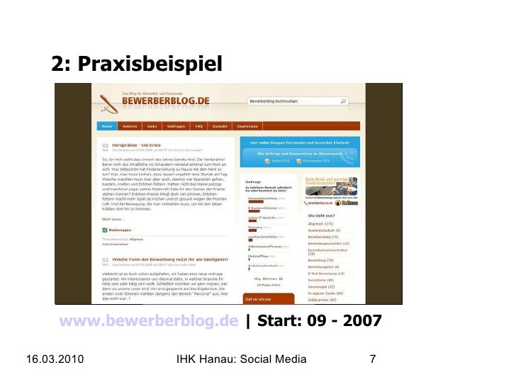 2: Praxisbeispiel www.bewerberblog.de    Start: 09 - 2007