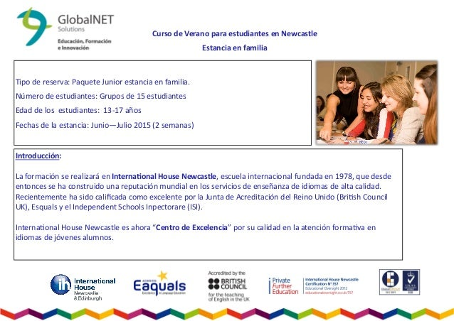 Curso de Verano para estudiantes en Newcastle Estancia en familia Tipo de reserva: Paquete Junior estancia en familia. Núm...