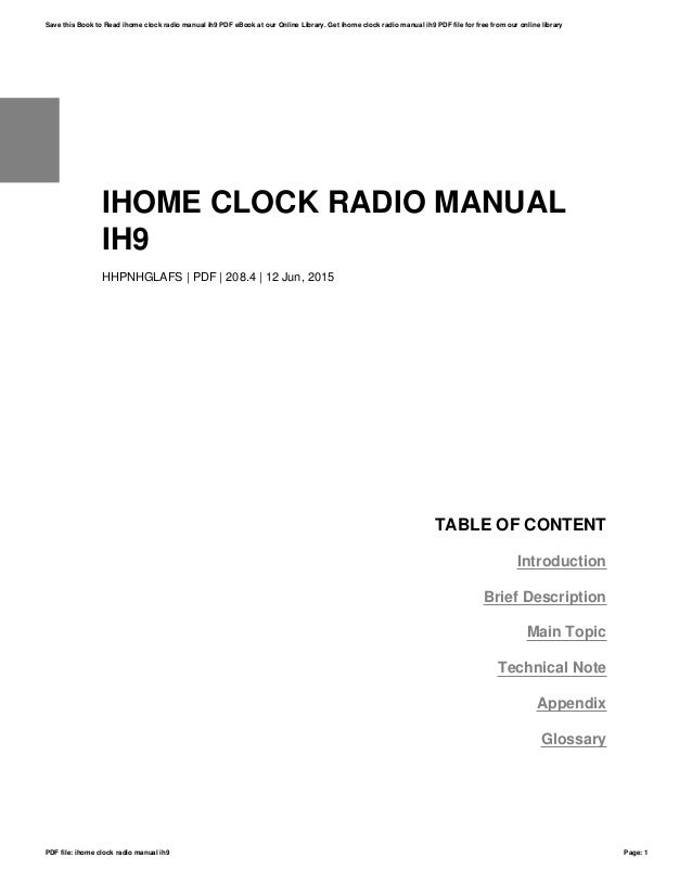 ihome clock radio manual ih9 rh slideshare net iH9 iHome Docking Station User Manual iHome Instruction Manual