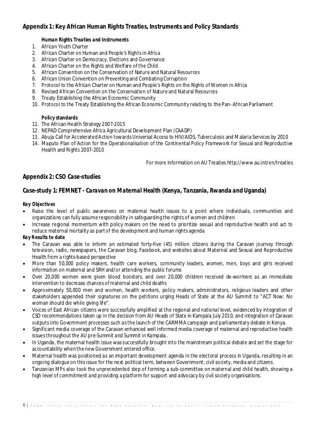 Appendix 1: Key African Human Rights Treaties, Instruments and Policy Standards           Human Rights Treaties and Instru...