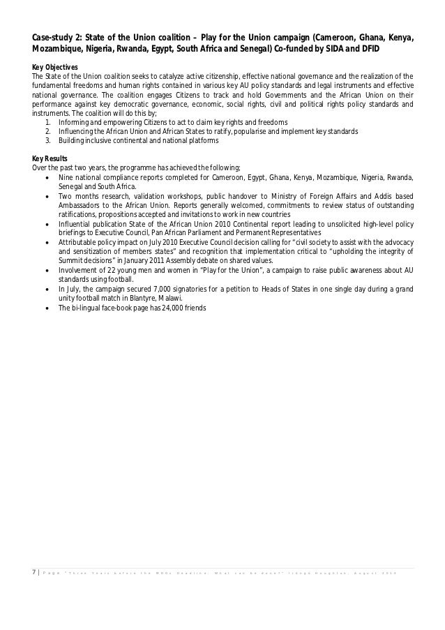 Case-study 2: State of the Union coalition – Play for the Union campaign (Cameroon, Ghana, Kenya,Mozambique, Nigeria, Rwan...
