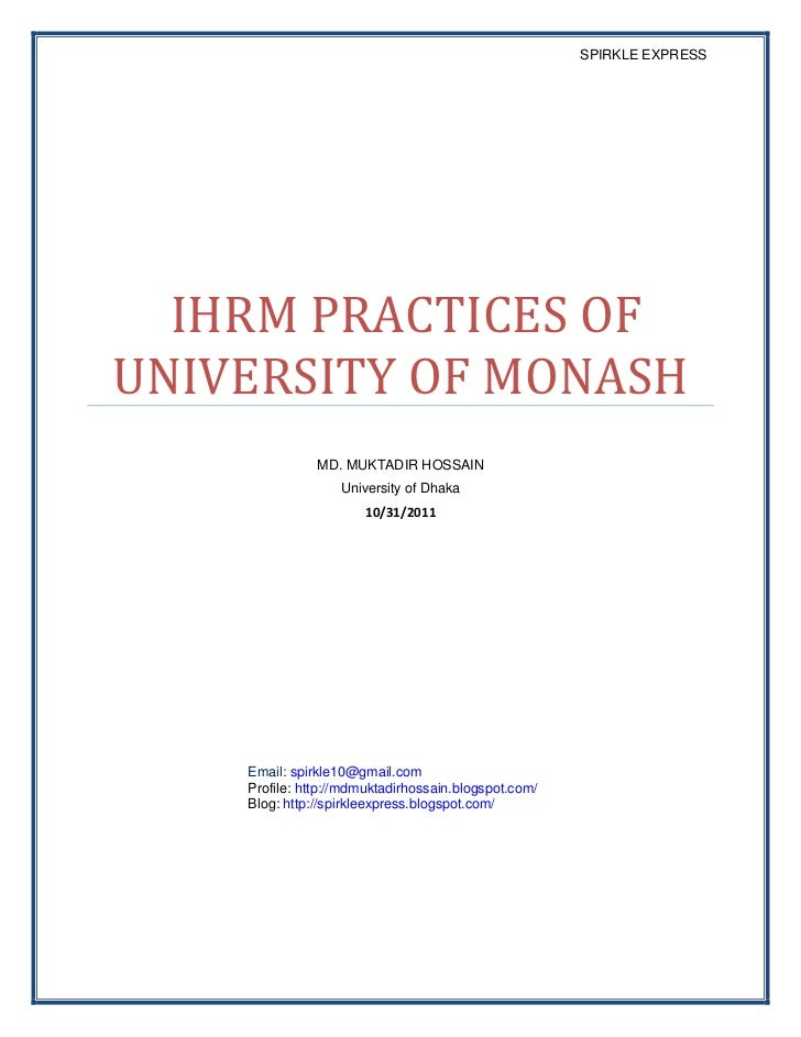 SPIRKLE EXPRESS  IHRM PRACTICES OFUNIVERSITY OF MONASH               MD. MUKTADIR HOSSAIN                   University of ...