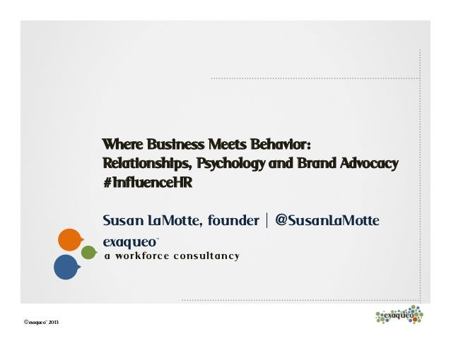 1exaqueo™a work forc e c on sulta n c y©exaqueo™ 2013Where Business Meets Behavior:Relationships, Psychology and Brand Adv...