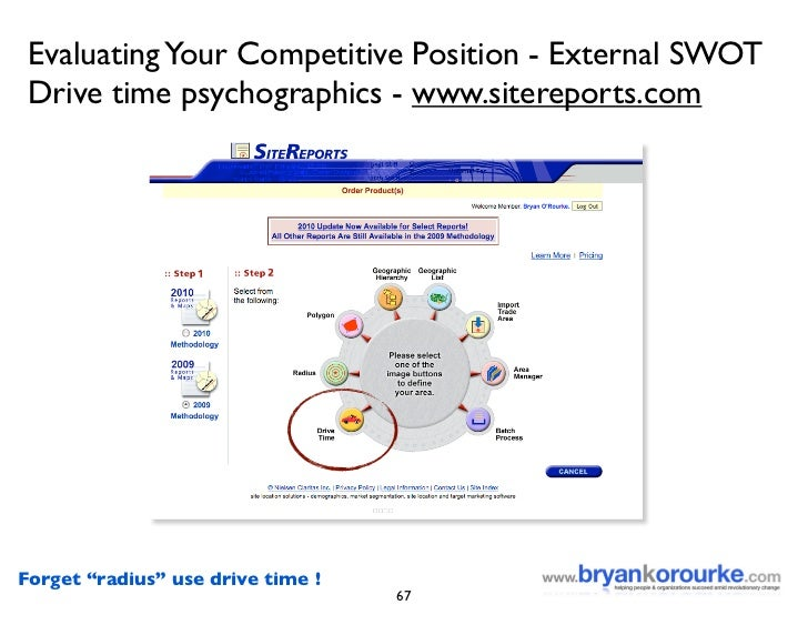 "Evaluating Your Competitive Position - External SWOT  Drive time psychographics - www.sitereports.com     Forget ""radius"" ..."