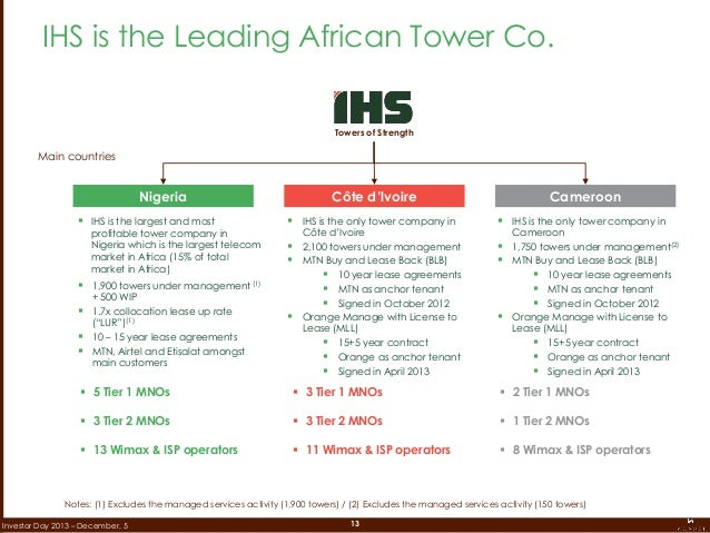 13Investor Day 2013 – December, 5 IHS is the Leading African Tower Co. Towers of Strength  IHS is the largest and most pr...