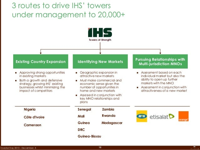 15Investor Day 2013 – December, 5 3 routes to drive IHS' towers under management to 20,000+ Pursuing Relationships with Mu...