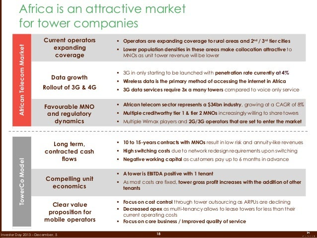 18Investor Day 2013 – December, 5 Africa is an attractive market for tower companies Current operators expanding coverage ...