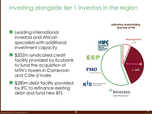 20Investor Day 2013 – December, 5  Leading international investors and African specialists with additional investment cap...