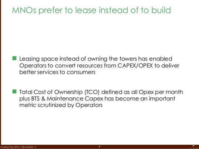 6Investor Day 2013 – December, 5  Leasing space instead of owning the towers has enabled Operators to convert resources f...