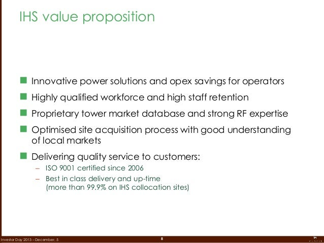 8Investor Day 2013 – December, 5  Innovative power solutions and opex savings for operators  Highly qualified workforce ...