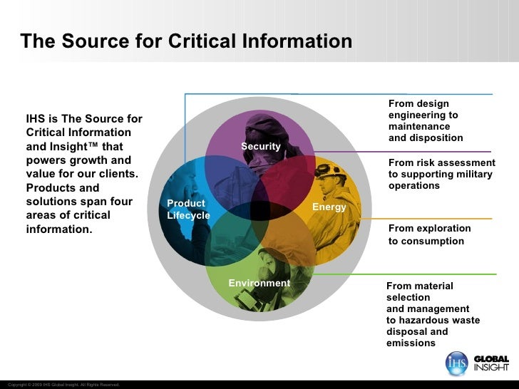 The Source for Critical Information IHS is The Source for Critical Information and Insight ™  that powers growth and value...