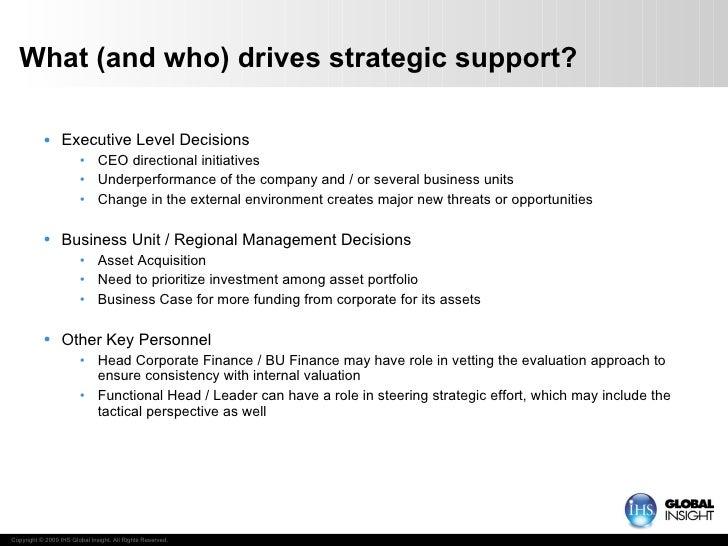 What (and who) drives strategic support? <ul><li>Executive Level Decisions </li></ul><ul><ul><li>CEO directional initiativ...
