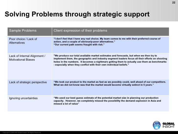 """Solving Problems through strategic support """" We used our best guess estimate of the potential market size in planning our ..."""