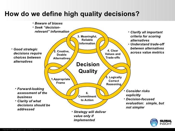 How do we define high quality decisions? <ul><li>Forward-looking assessment of the business </li></ul><ul><li>Clarity of w...