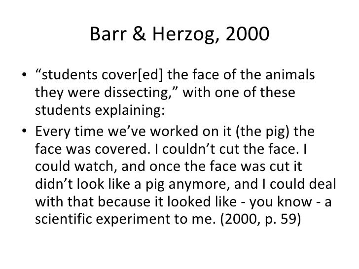 """<ul><li>"""" students cover[ed] the face of the animals they were dissecting,"""" with one explaining:  </li></ul><ul><li>Every ..."""