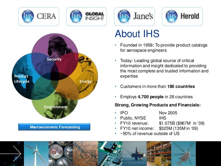 Security<br />Product<br />Lifecycle<br />Energy<br />      Environment<br />About IHS<br /><ul><li>Founded in 1959: To pr...