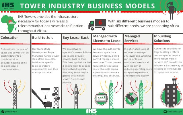 TOWER INDUSTRY BUSINESS MODELS www.IHSTowers.com IHS Towers provides the infrastructure necessary for today's wireless & t...