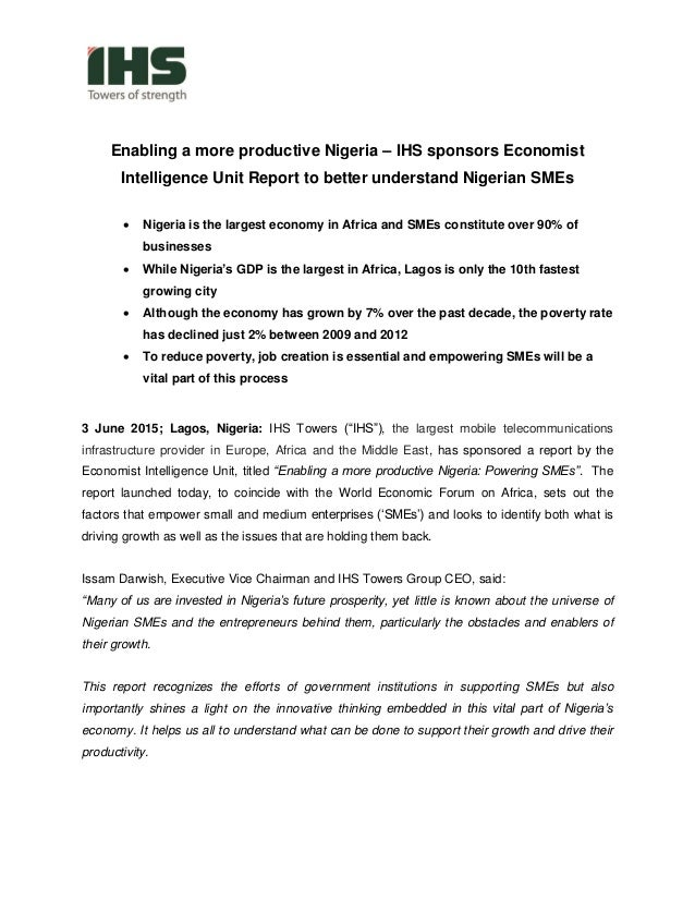 Enabling a more productive Nigeria – IHS sponsors Economist Intelligence Unit Report to better understand Nigerian SMEs  ...