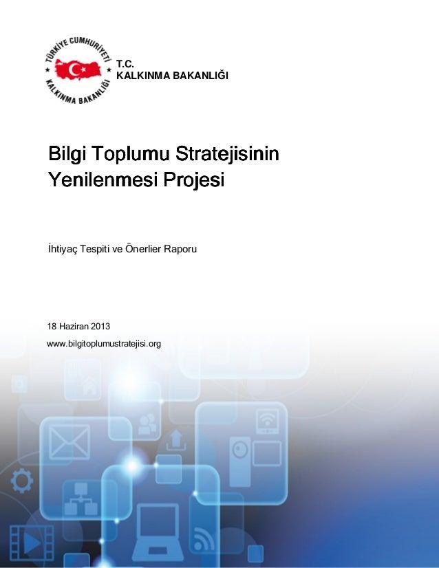 18 Haziran 2013 www.bilgitoplumustratejisi.org İhtiyaç Tespiti ve Önerlier Raporu İhtiyaç Tespiti ve Öneriler Raporu T.C. ...