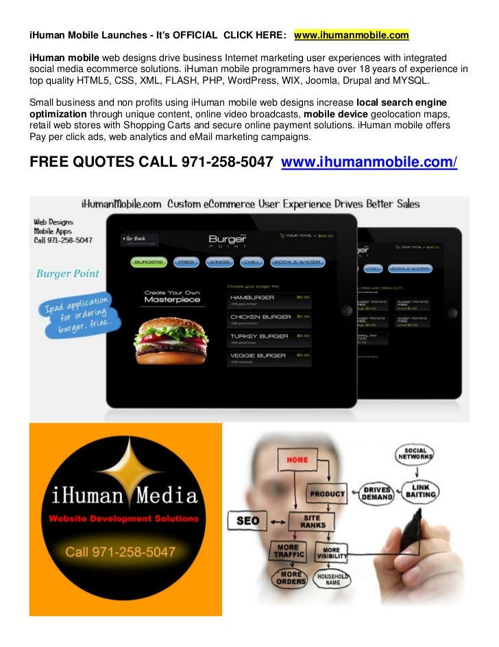iHuman Mobile Launches - Its OFFICIAL CLICK HERE: www.ihumanmobile.comiHuman mobile web designs drive business Internet ma...