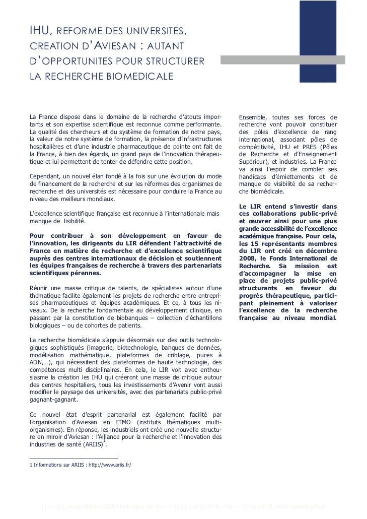 IHU,        REFORME DES UNIVERSITES,CREATION D'AVIESAN                                :   AUTANTD'OPPORTUNITES POUR STRUCT...