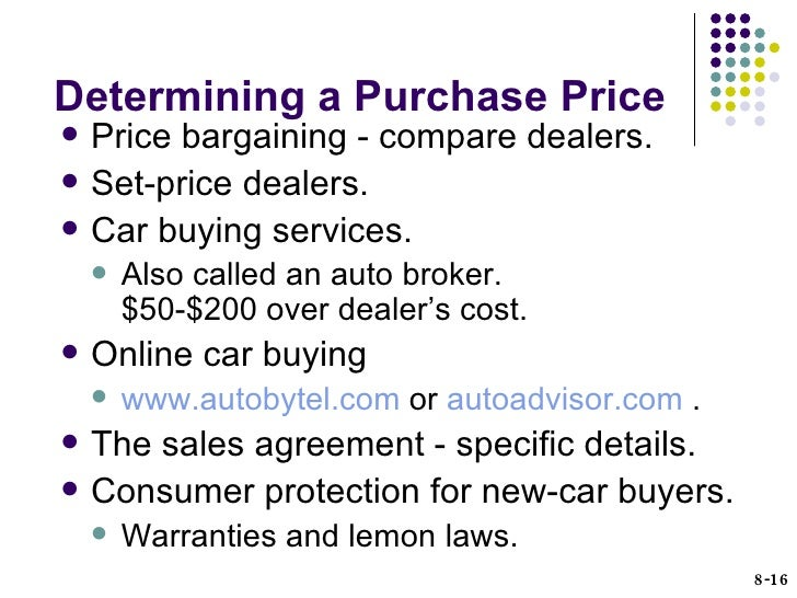 HUSC Chapter Consumer Purchasing Strategies - Car buying strategies dealer invoice