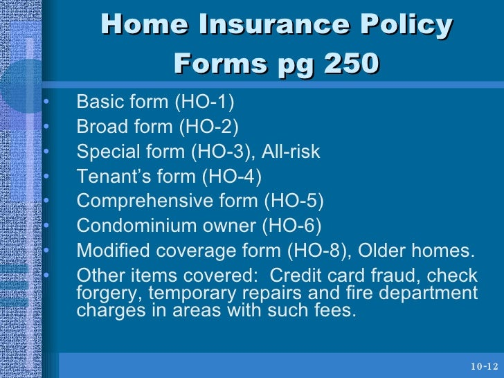 HUSC 3366 Chapter 8 Home and Automobile Insurance