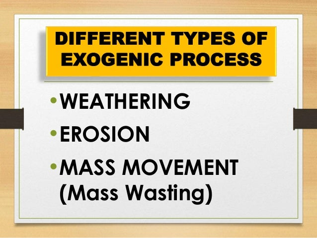 Earth Materials and Processes : EXOGENIC PROCESS Slide 3