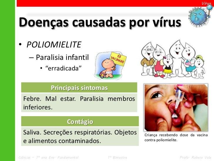 "VírusDoenças causadas por vírus• POLIOMIELITE      – Paralisia infantil            • ""erradicada""                  Princip..."