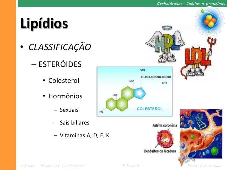 Carboidratos, lipídios e proteínasLipídios• CLASSIFICAÇÃO     – ESTERÓIDES           • Colesterol           • Hormônios   ...