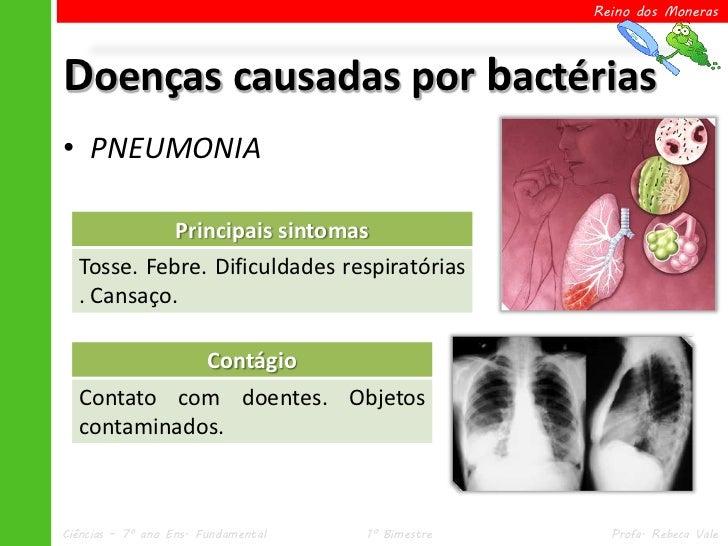 Reino dos MonerasDoenças causadas por bactérias• PNEUMONIA            Principais sintomas  Tosse. Febre. Dificuldades resp...