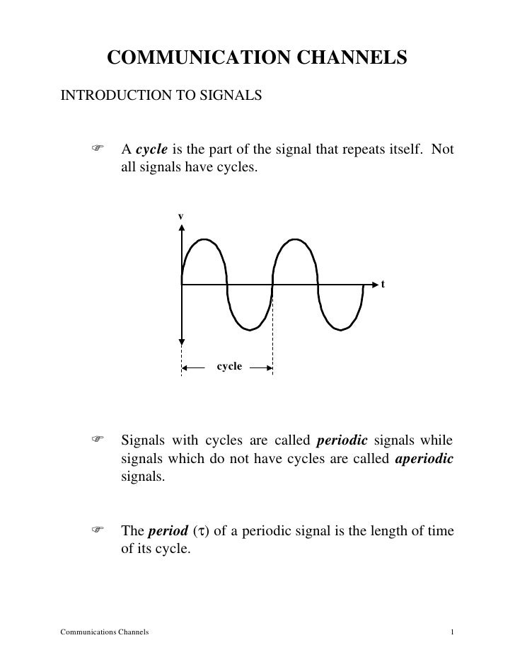 COMMUNICATION CHANNELS INTRODUCTION TO SIGNALS          F       A cycle is the part of the signal that repeats itself. Not...
