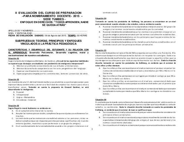 """1 II EVALUACIÓN DEL CURSO DE PREPARACION –PARA NOMBRAMIENTO DOCENTE- 2015 – - SEDE TUMBES - - ENFOQUE EN DERECHOS:""""TODOS A..."""