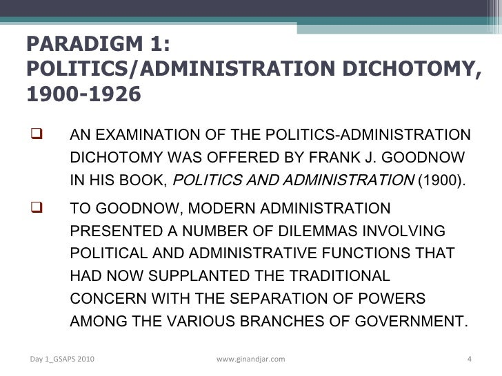 difference and relationship between politics and administration