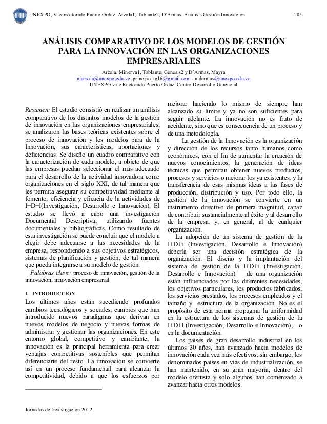 UNEXPO, Vicerrectorado Puerto Ordaz. Arzola1, Tablante2, D`Armas. Análisis Gestión Innovación  Jornadas de Investigación 2...