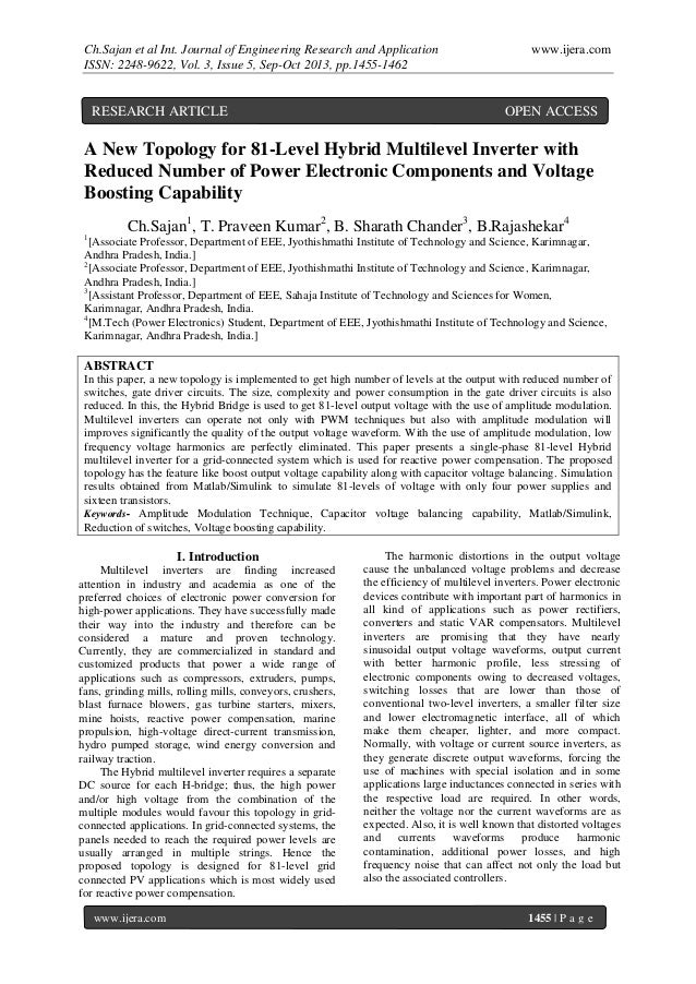 Ch.Sajan et al Int. Journal of Engineering Research and Application ISSN: 2248-9622, Vol. 3, Issue 5, Sep-Oct 2013, pp.145...