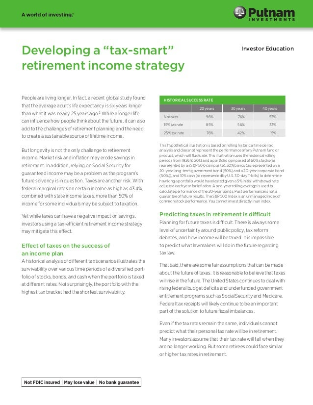 "Developing a ""tax-smart"" retirement income strategy Investor Education People are living longer. In fact, a recent global ..."