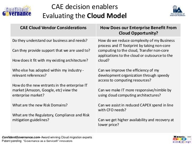 CAE decision enablers                           Evaluating the Cloud Model            CAE Cloud Vendor Considerations     ...