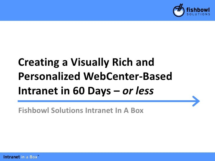 Creating a Visually Rich andPersonalized WebCenter-BasedIntranet in 60 Days – or lessFishbowl Solutions Intranet In A Box