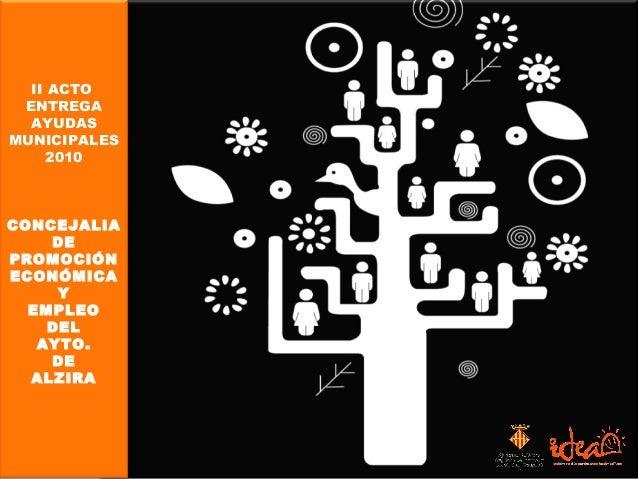 II Acto Entrega Ayudas Municipales 2010 II ACTO ENTREGA AYUDAS MUNICIPALES 2010 CONCEJALIA DE PROMOCIÓN ECONÓMICA Y EMPLEO...