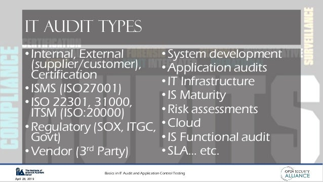Basics in IT Audit and Application Control Testing April 28, 2019 IT Audit Types •Internal, External (supplier/customer), ...